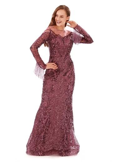 Carmen Carmen Mor Payetli Taş İşlemeli Uzun Abiye Elbise Mor